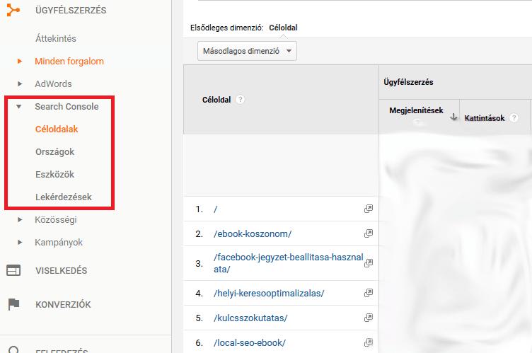 Google Analytics céloldalak