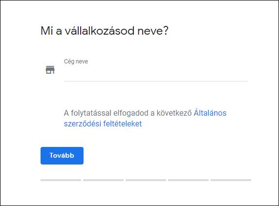 Google Cégem vállalkozás név megadása