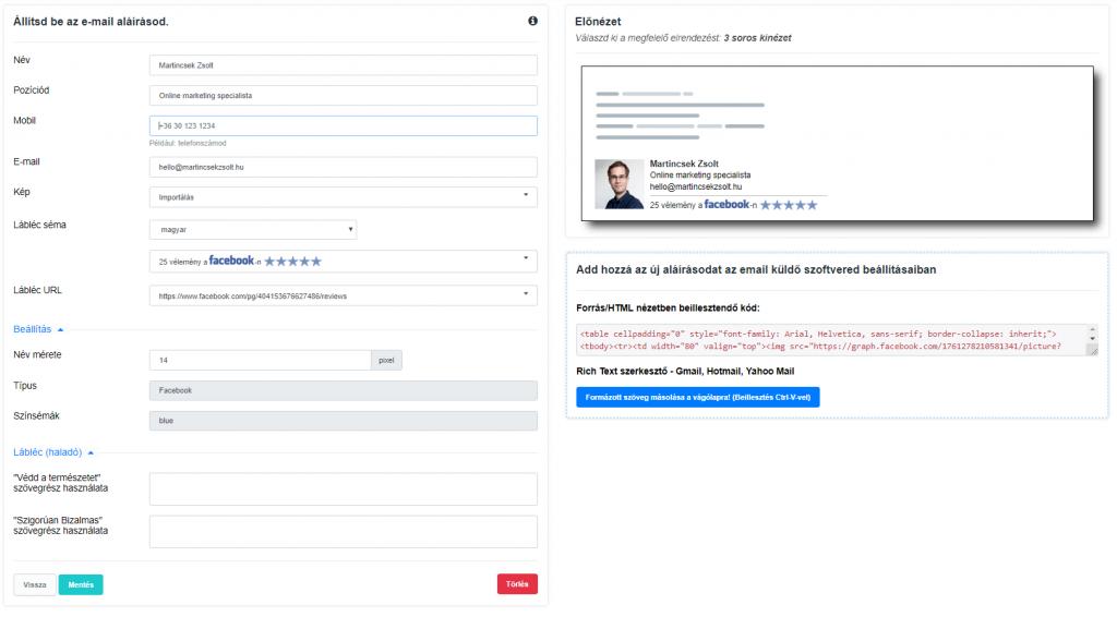 Email aláírás szerkesztése Trustindex-ben