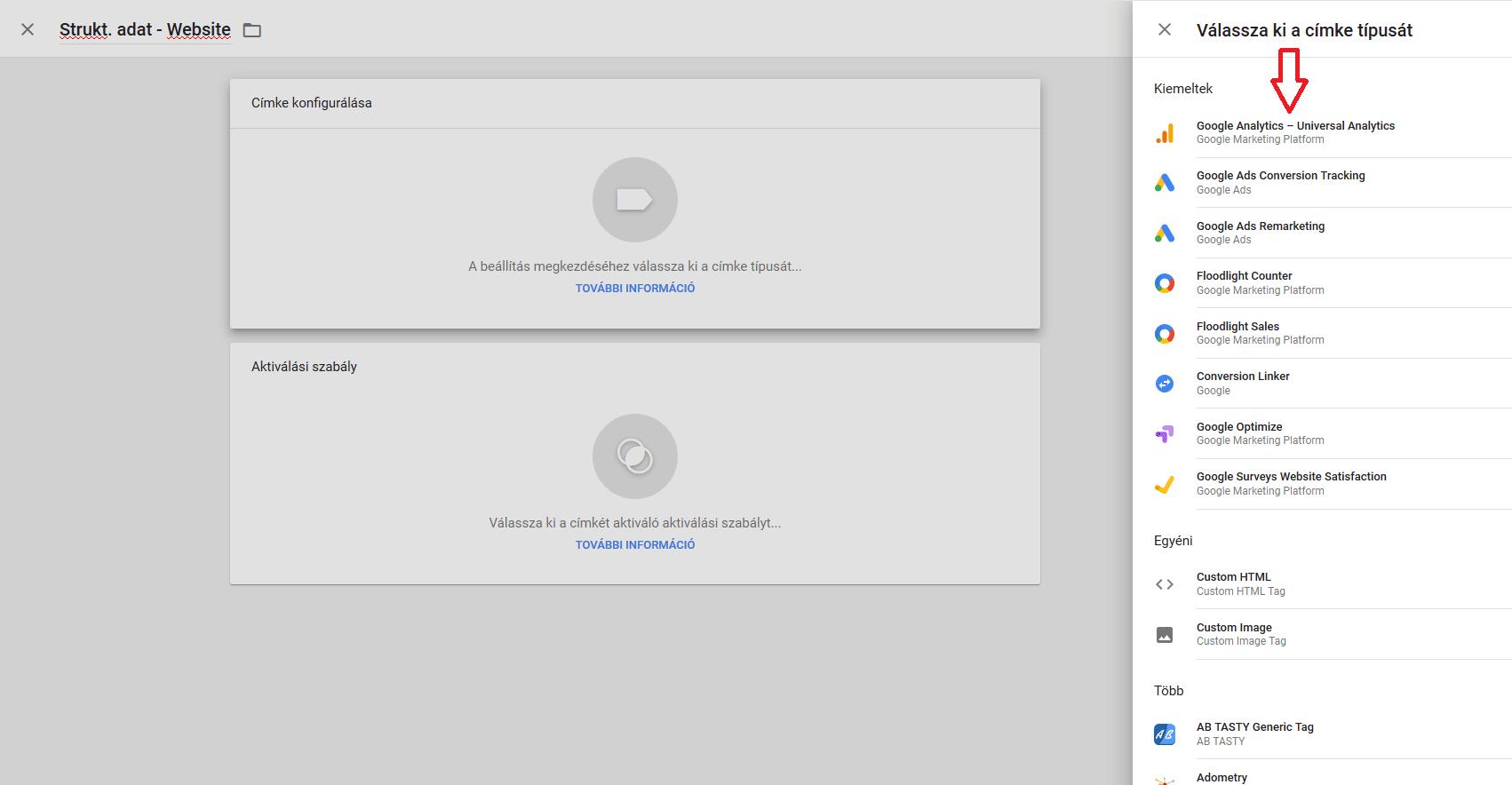 Google Tag Manager címke típusok