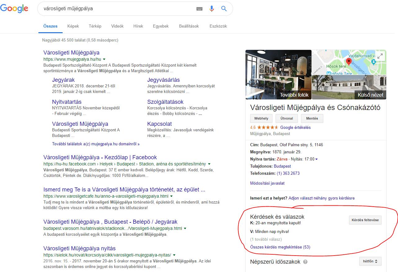 kérdés és válasz google my business