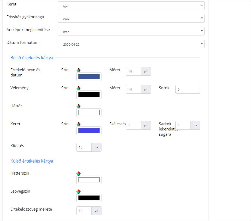 Trustindex widget grafikai beállítás