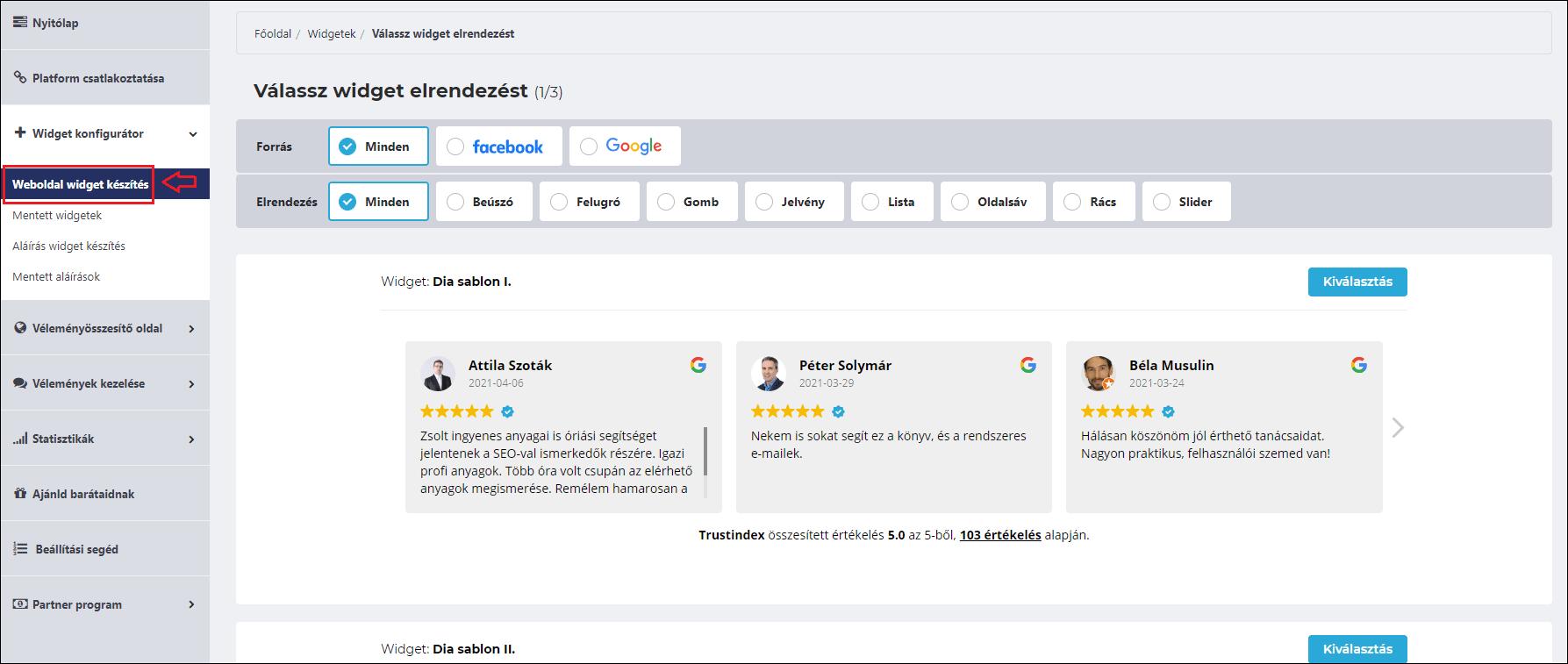 trustindex widget létrehozása