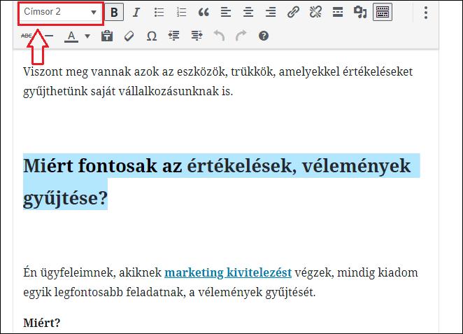 Címsorok beállítása WordPressben