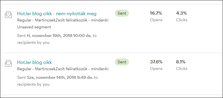 Mailchimpben hírlevél kiküldése