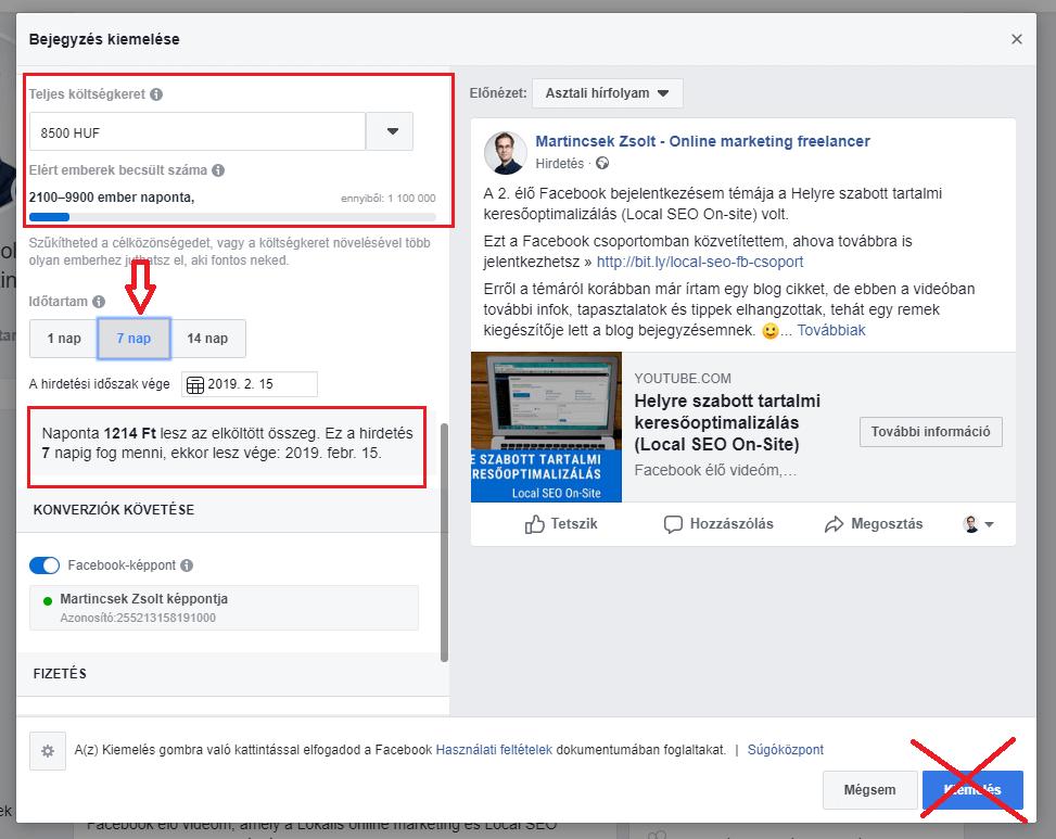 Facebook poszt kiemelése