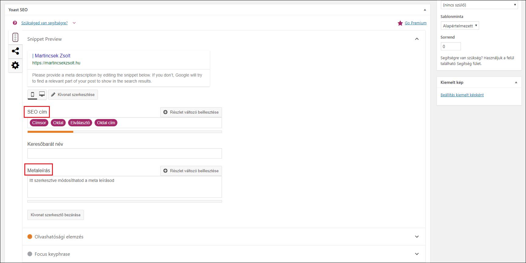 Oldal és bejegyzés meta adatainak szerkesztése