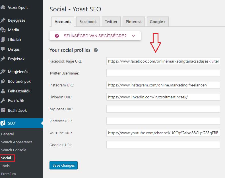 social media fiókok beállítása