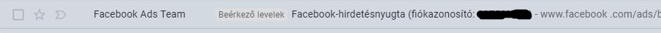 Facebook hirdetésnyugta értesítő email
