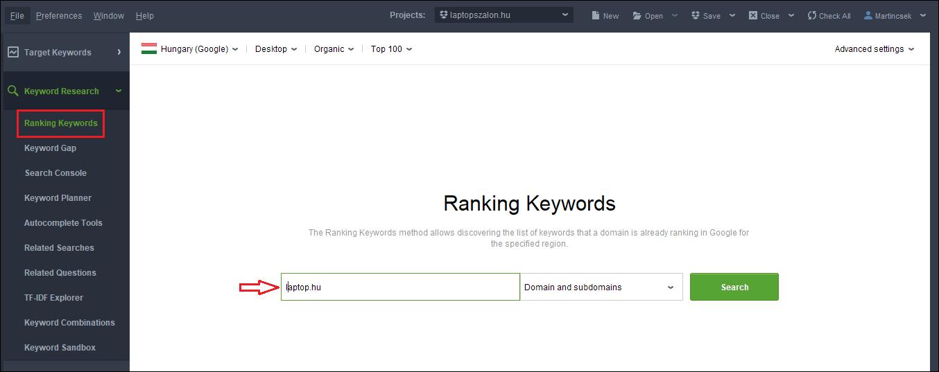 ranking keywords