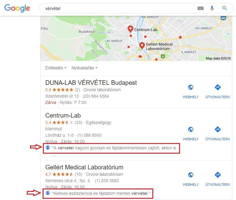 Google Cégem értékelések megjelenése térképen