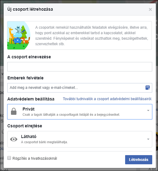 Facebook csoport első beállításai