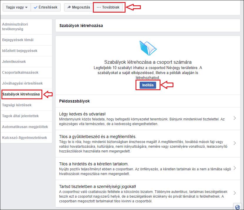 Facebook csoport szabályzat