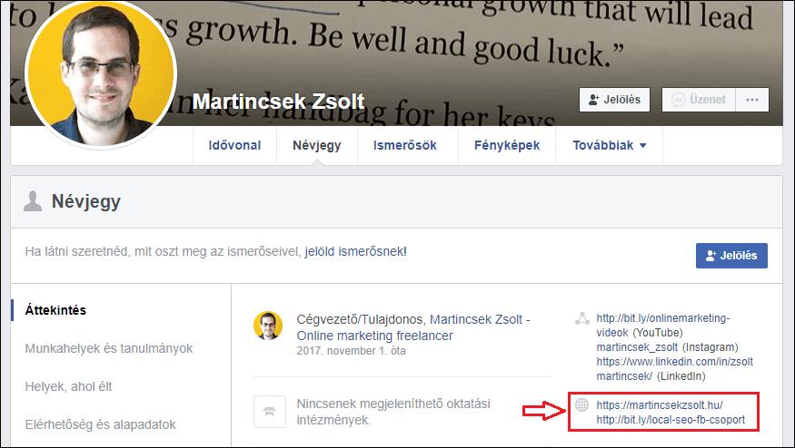 Facebook névjegy