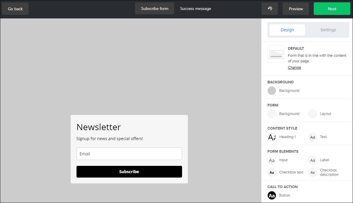 beágyazott form készítése MailerLite