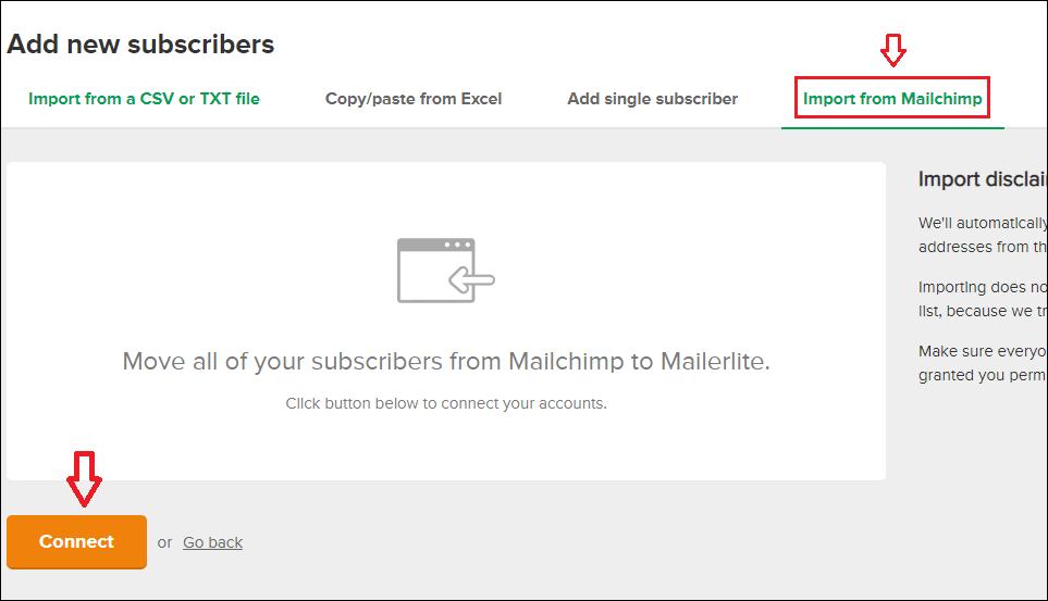 Mailchimp feliratkozók importálása MailerLite-ban