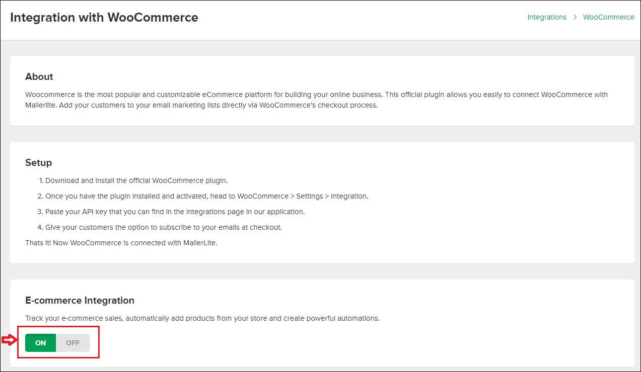 MailerLite WooCommerce bekapcsolása
