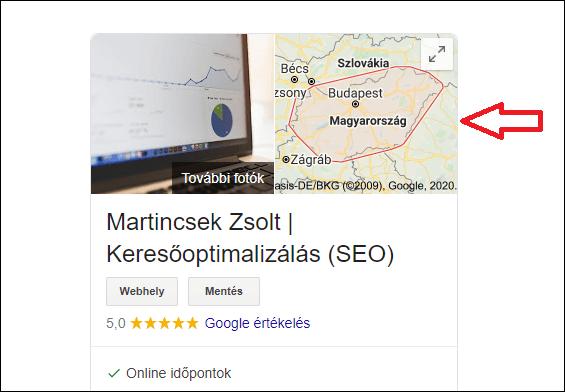 Google Cégem szolgáltatás terület