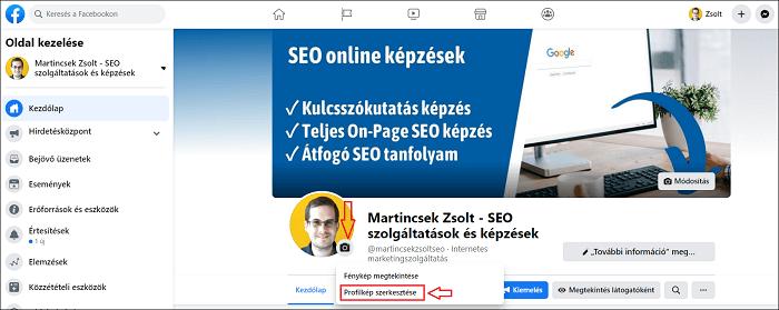 Facebook oldal profilkép beállítás