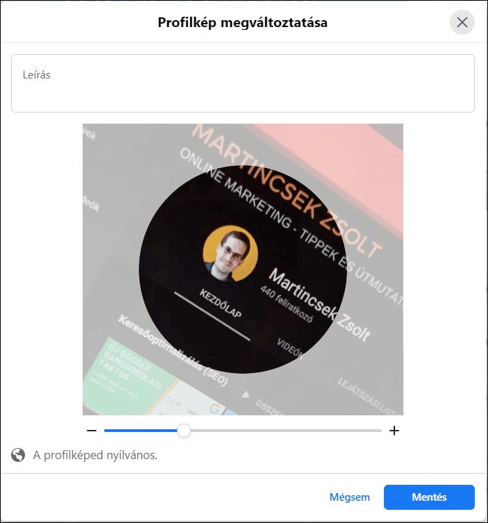 Facebook profilkép kör alak beállítása
