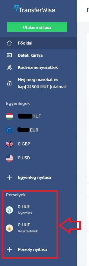 TransferWise persely létrehozása