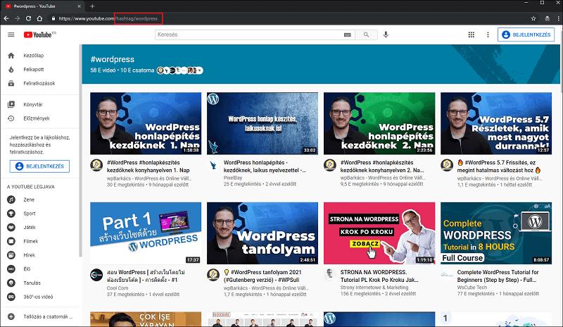 hashtag oldalak YouTube