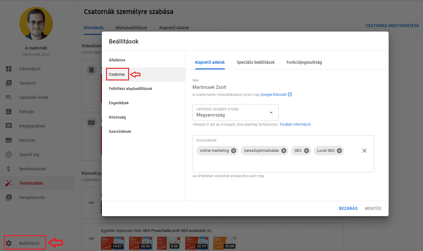 YouTube csatorna beállítások