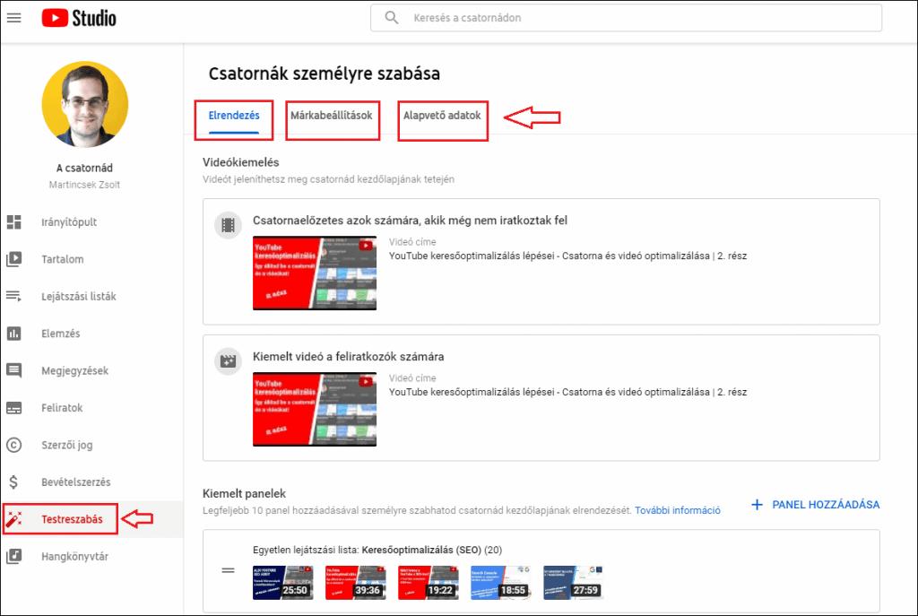 YouTube csatorna testreszabása
